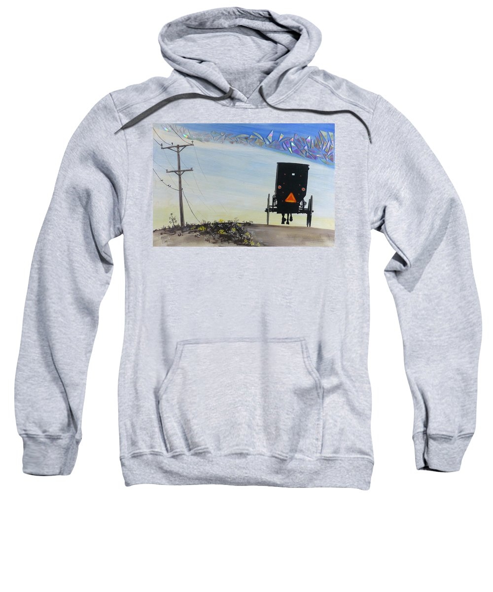 Hanzer Art Sweatshirt featuring the painting Right Of Way by Jack Hanzer Susco
