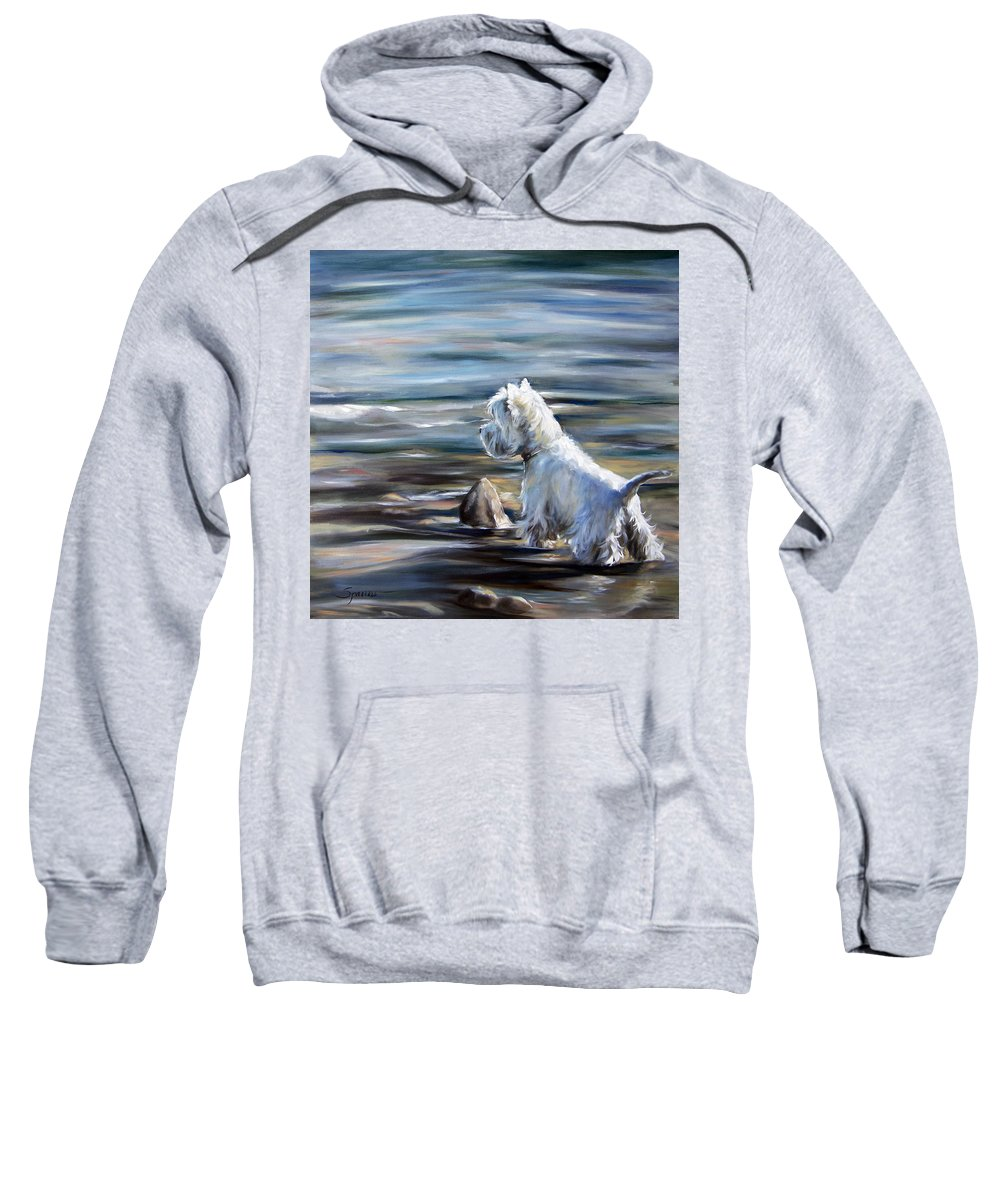 Westie Sweatshirt featuring the painting River Boy by Mary Sparrow