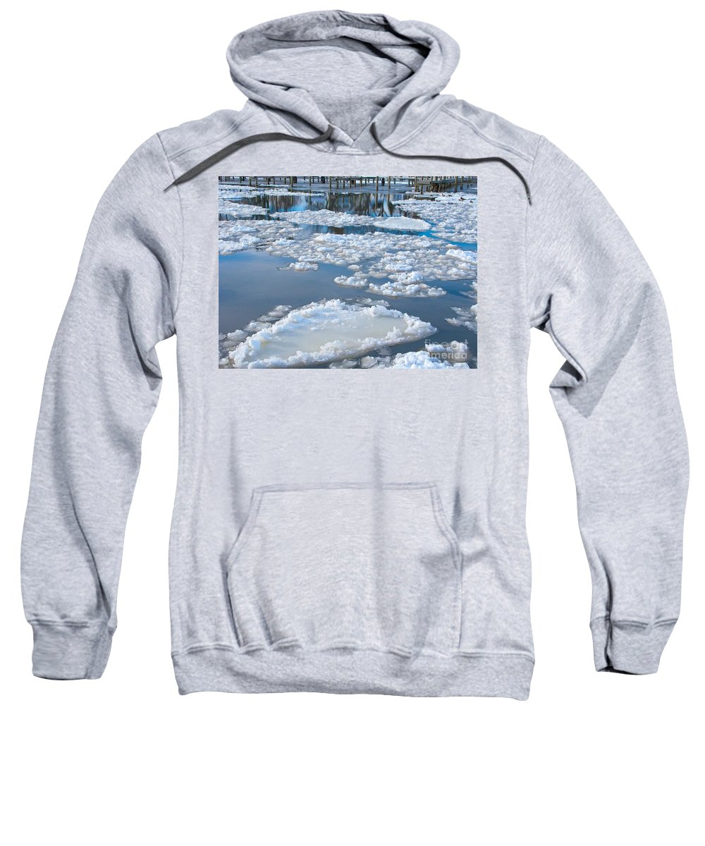 Ice Sweatshirt featuring the photograph River Ice by Ann Horn