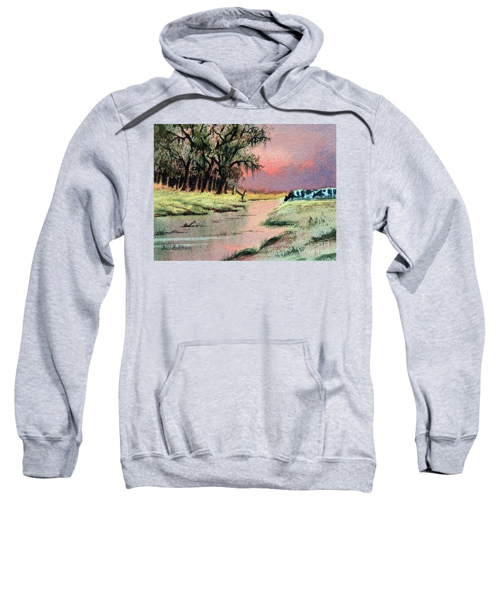 Cows Sweatshirt featuring the painting River Sunrise by Bill Holkham