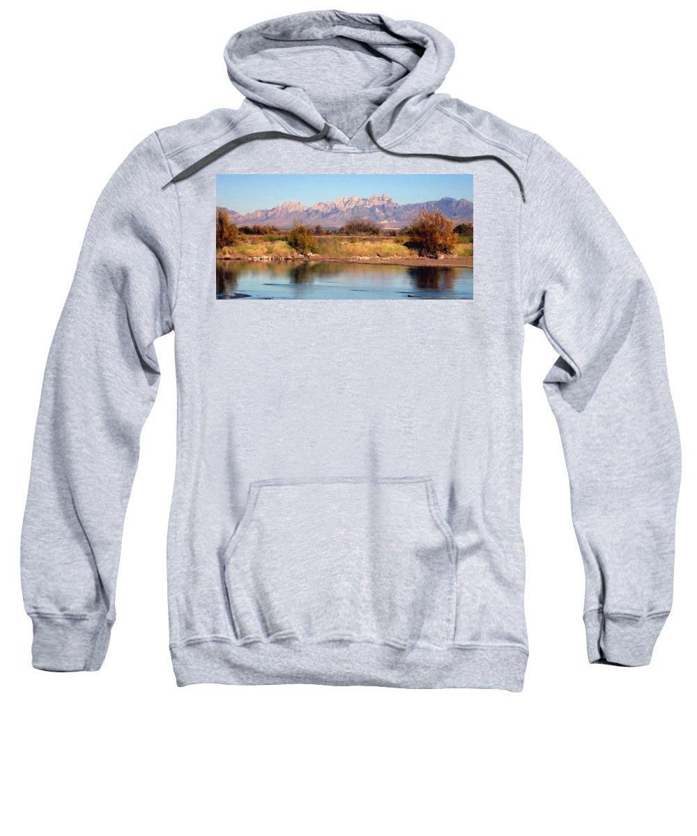 Las Cruces Sweatshirt featuring the photograph River View Mesilla Panorama by Kurt Van Wagner