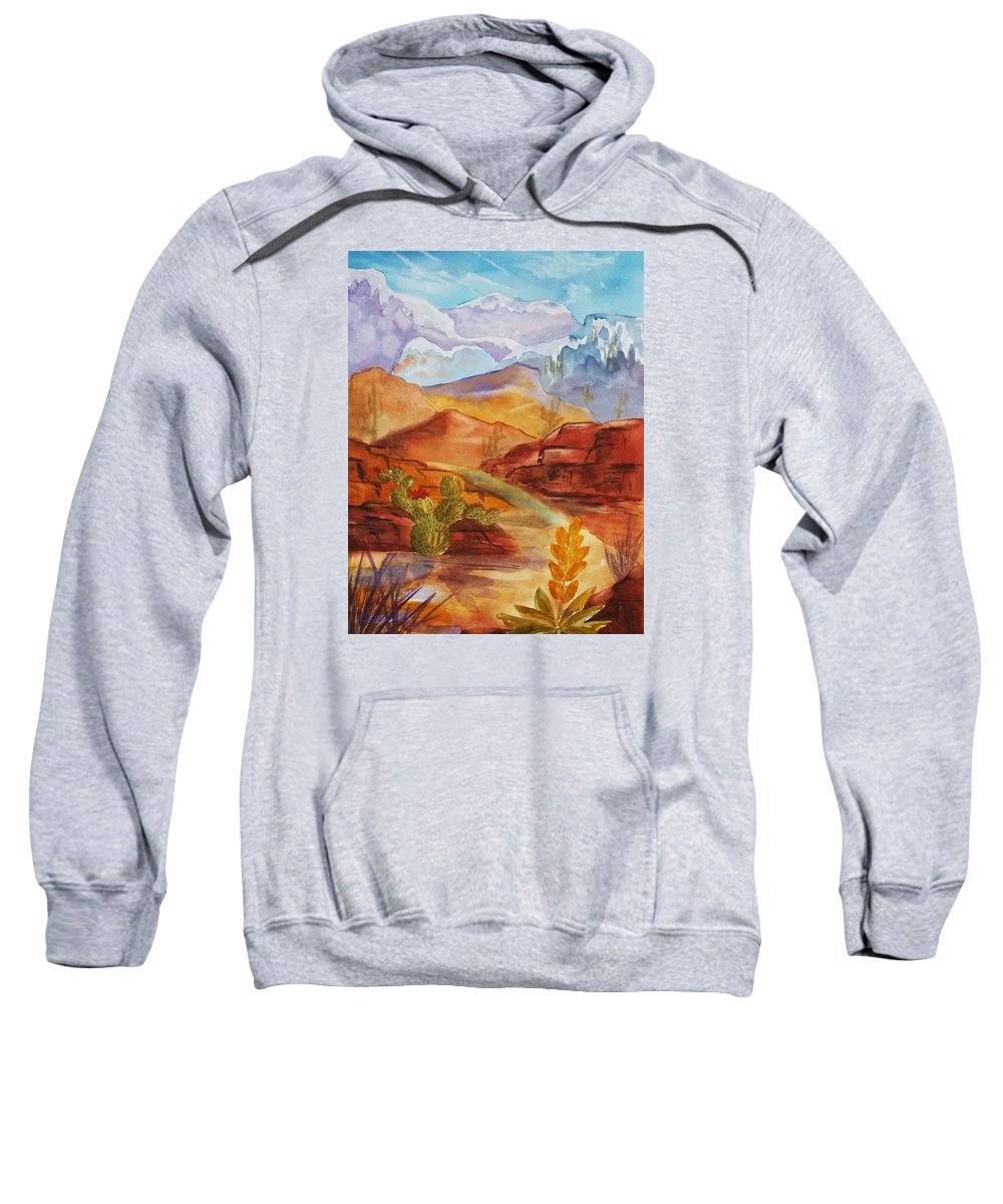 Mountains Sweatshirt featuring the painting Road To Nowhere by Ellen Levinson