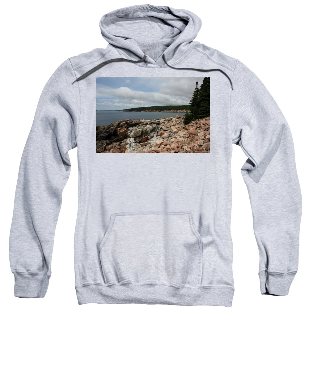 Rocky Coast Sweatshirt featuring the photograph Rocky Coastline Acardia Park by Christiane Schulze Art And Photography