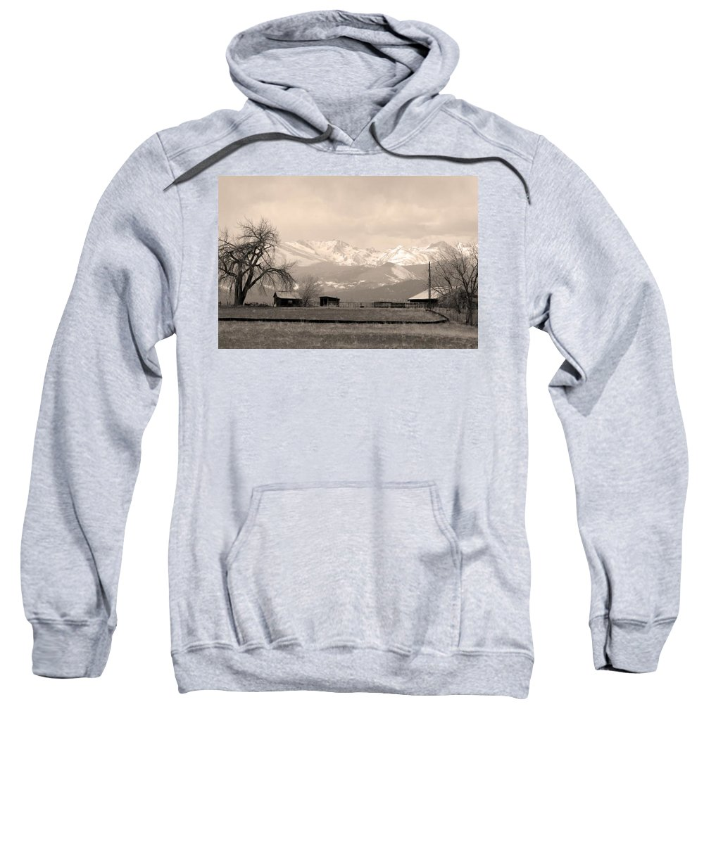 Boulder Sweatshirt featuring the photograph Rocky Mountain Lafayette Sepia Views by James BO Insogna