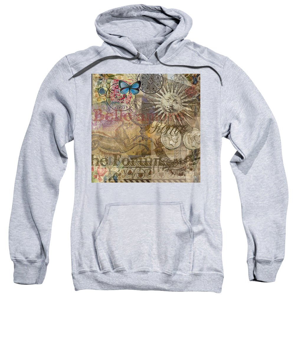 Doodlefly Sweatshirt featuring the digital art Rome Vintage Italy Travel Collage by Mary Hubley