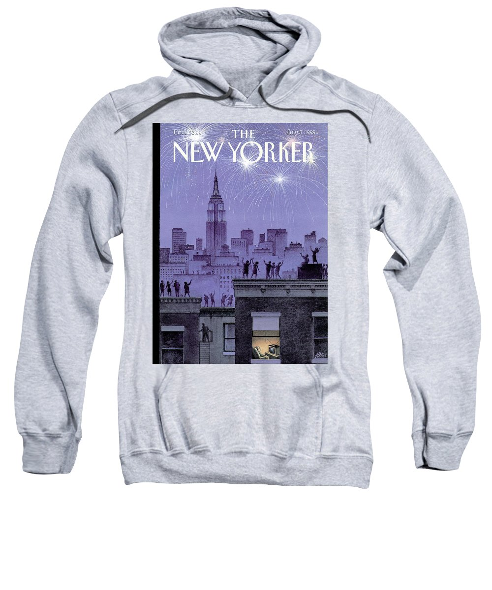Harry Bliss Hbl Sweatshirt featuring the painting Rooftop Revelers Celebrate New Year's Eve by Harry Bliss