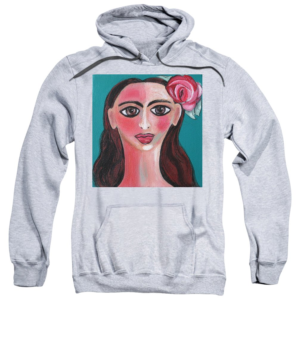 Canvas Sweatshirt featuring the painting Rosa by Sue Wright