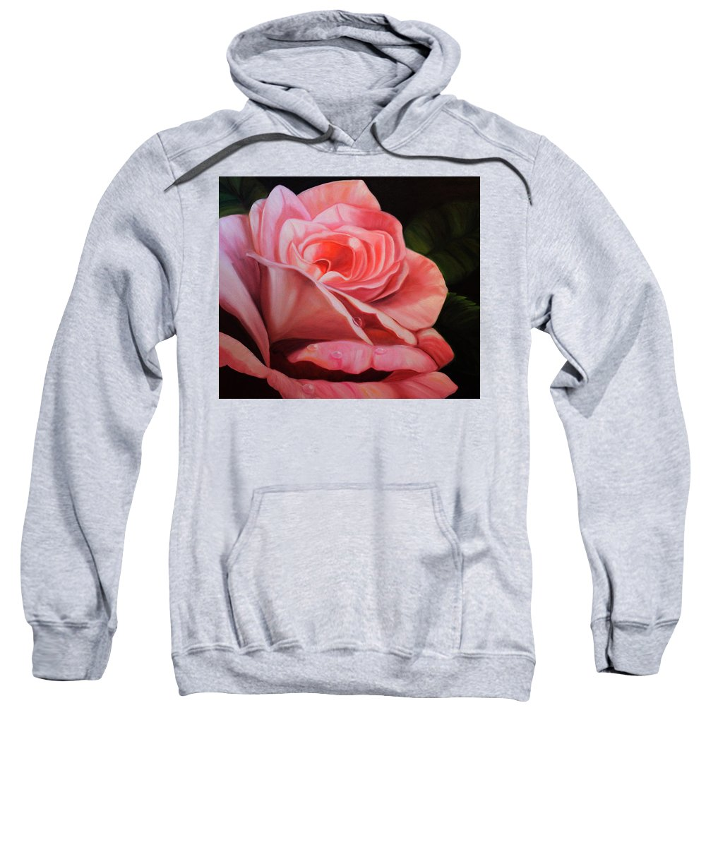 Rose Sweatshirt featuring the painting Rose by Alyssa Zuercher