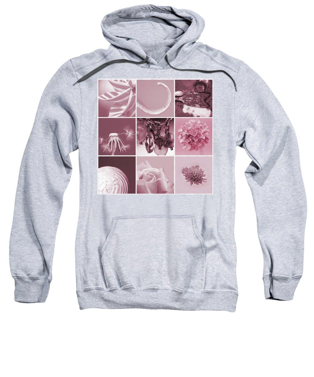 Pink Sweatshirt featuring the photograph Rose Mosaic by Lisa Knechtel