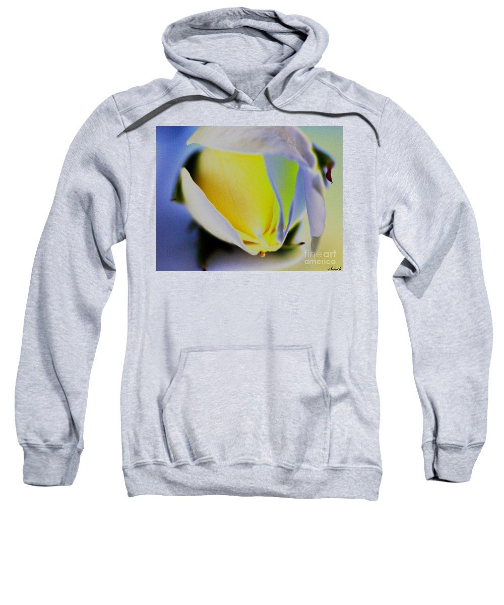 Yellow Sweatshirt featuring the digital art Rose Yellow by Carol Lynch