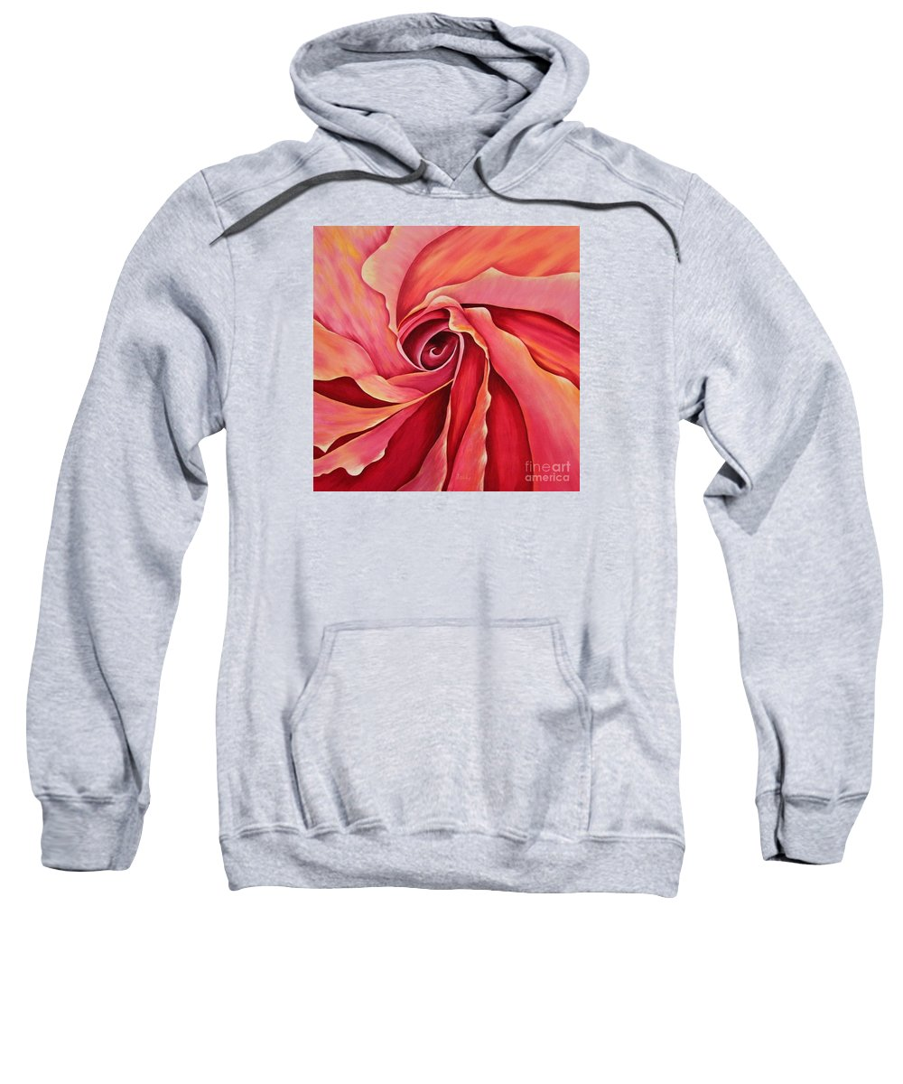 Red Flower Paintings Sweatshirt featuring the painting Rosebud by Mary Deal