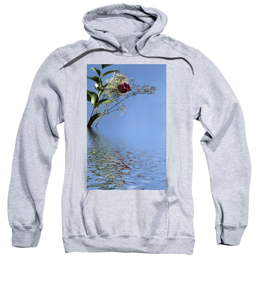 Roses Sweatshirt featuring the photograph Rosy Reflection - Left Side by Gravityx9 Designs
