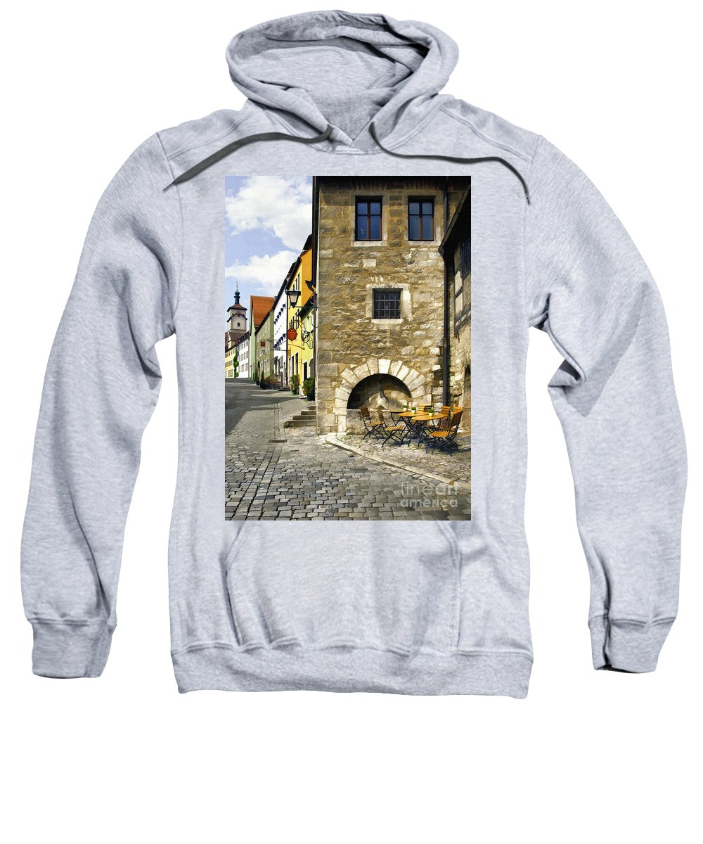 Rothenberger Sweatshirt featuring the photograph Rothenberger Cafe by Sharon Foster