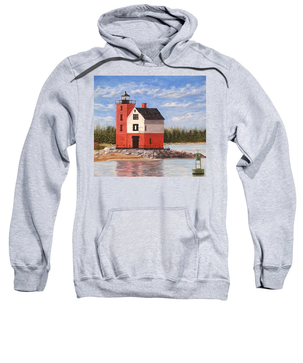 Round Island Lighthouse Sweatshirt featuring the painting Round Island Light House by Vicky Path
