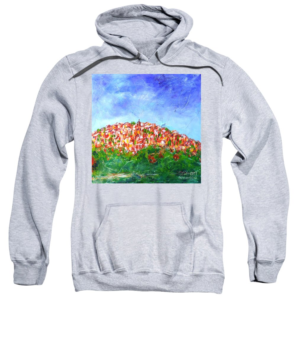 Provence Sweatshirt featuring the painting Roussillon Village by Cristina Stefan