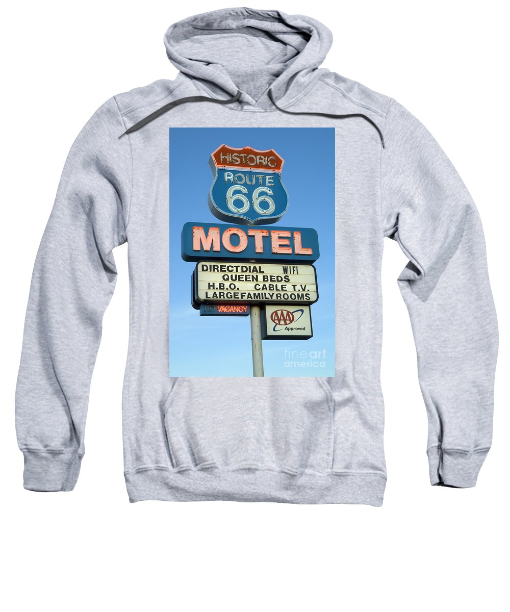 Flames Sweatshirt featuring the photograph Route 66 Motel Sign 3 by Bob Christopher