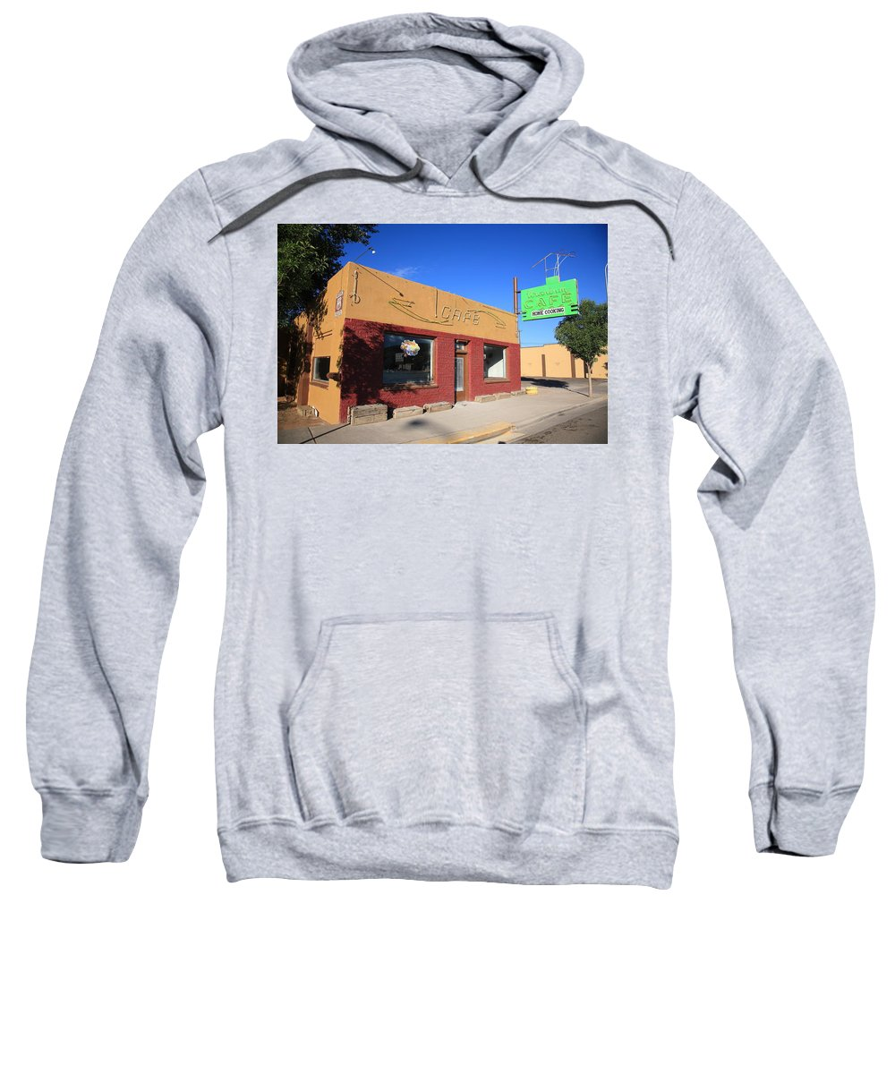 66 Sweatshirt featuring the photograph Route 66 - Uranium Cafe by Frank Romeo