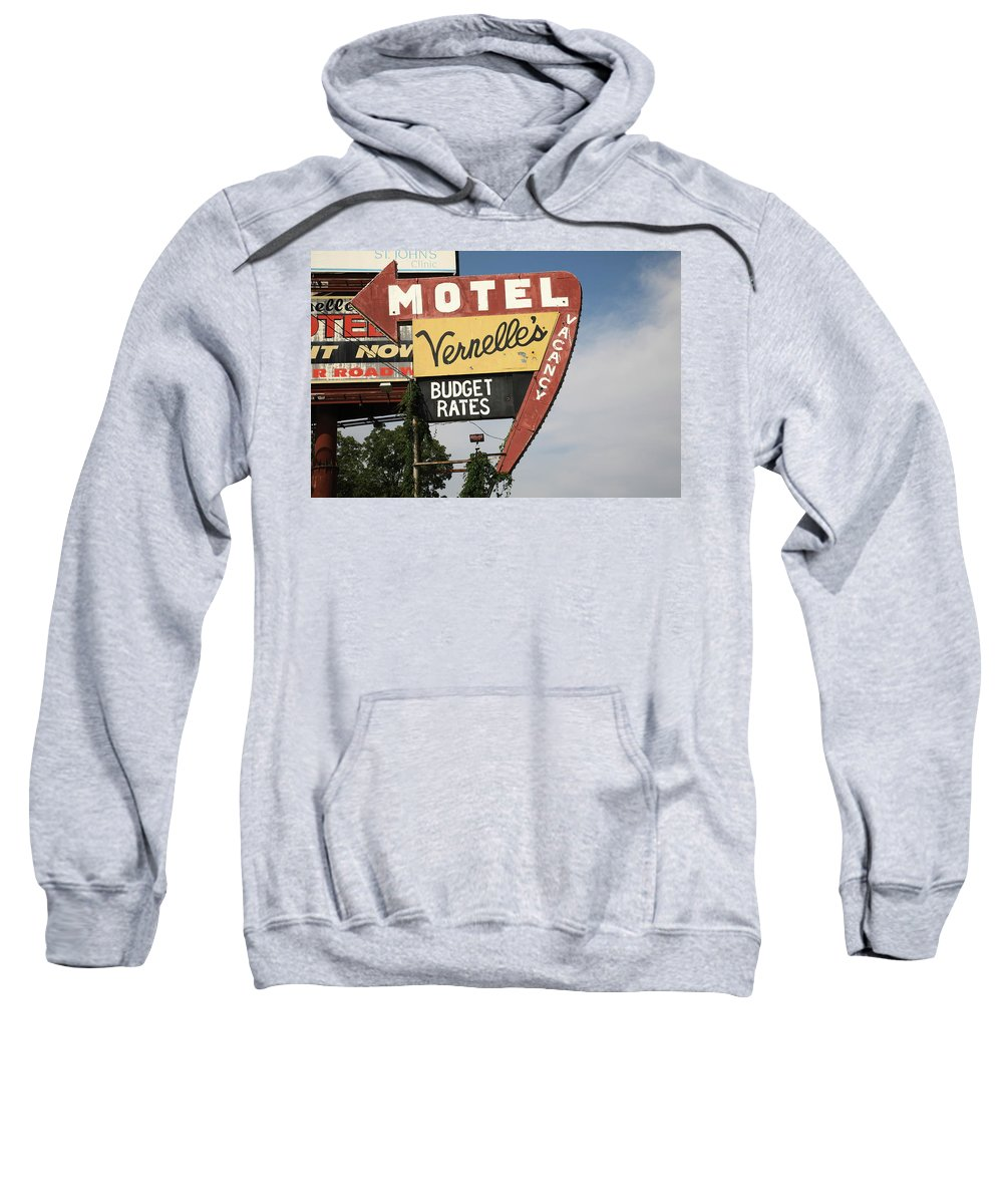 66 Sweatshirt featuring the photograph Route 66 - Vernelle's Motel by Frank Romeo