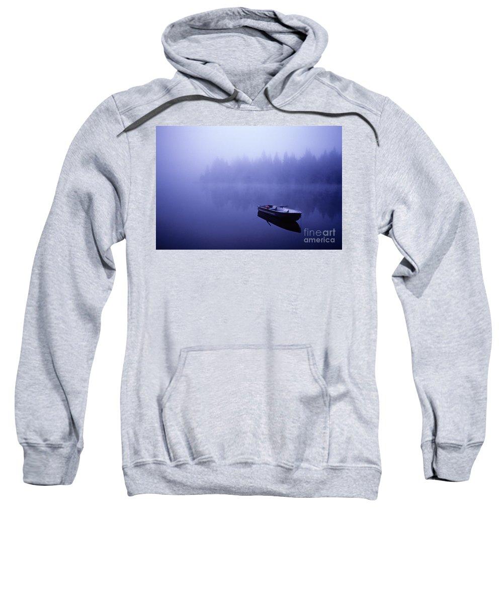 Landscape Sweatshirt featuring the photograph Row Boat On Lake Mason by Jim Corwin