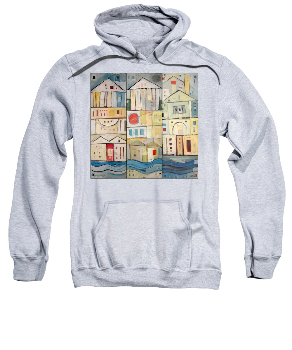 Row Houses Sweatshirt featuring the painting Rowhouses Triptych by Tim Nyberg