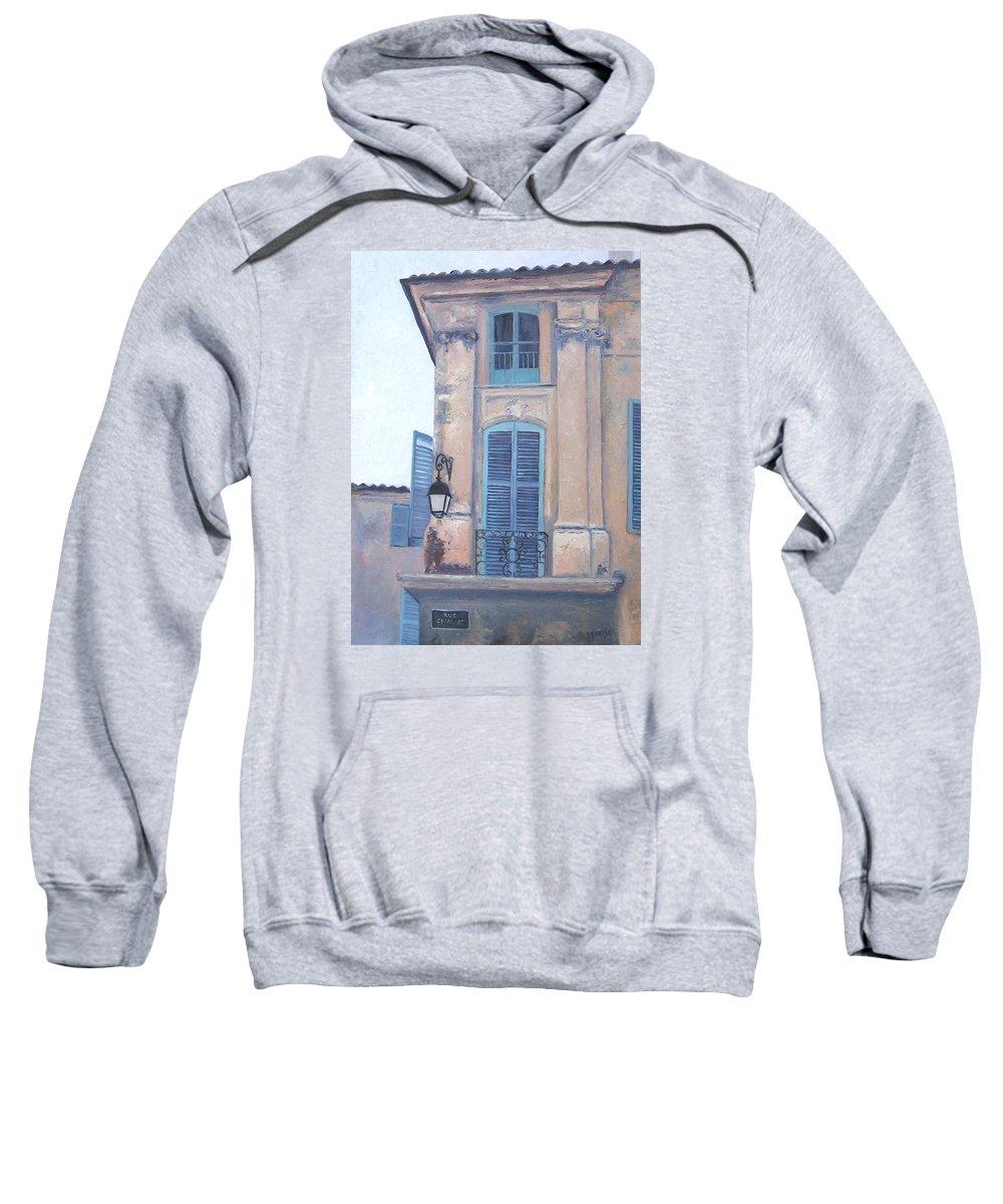 Aix-en-provence Sweatshirt featuring the painting Rue Espariat Aix-en-provence by Jan Matson