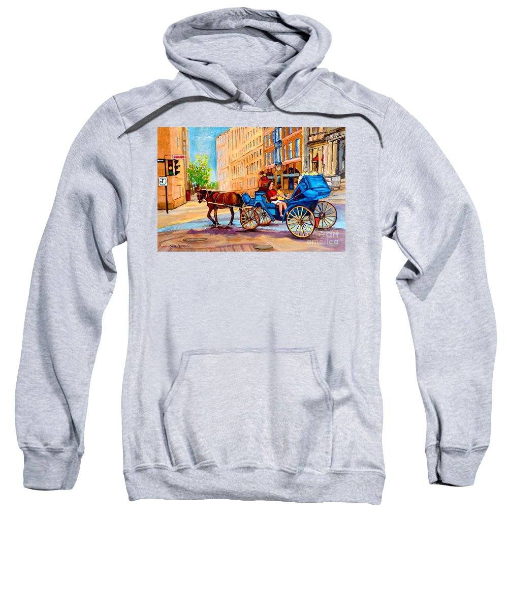 Rue Notre Dame Sweatshirt featuring the painting Rue Notre Dame Caleche Ride by Carole Spandau