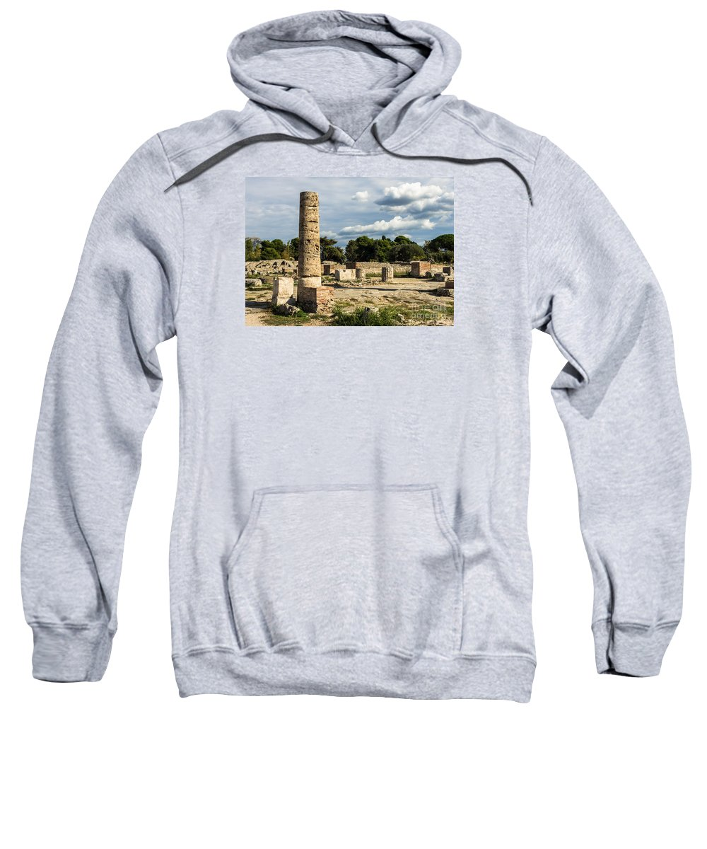 Paestum Ruins Sweatshirt featuring the photograph Ruins Of Paestum by Prints of Italy