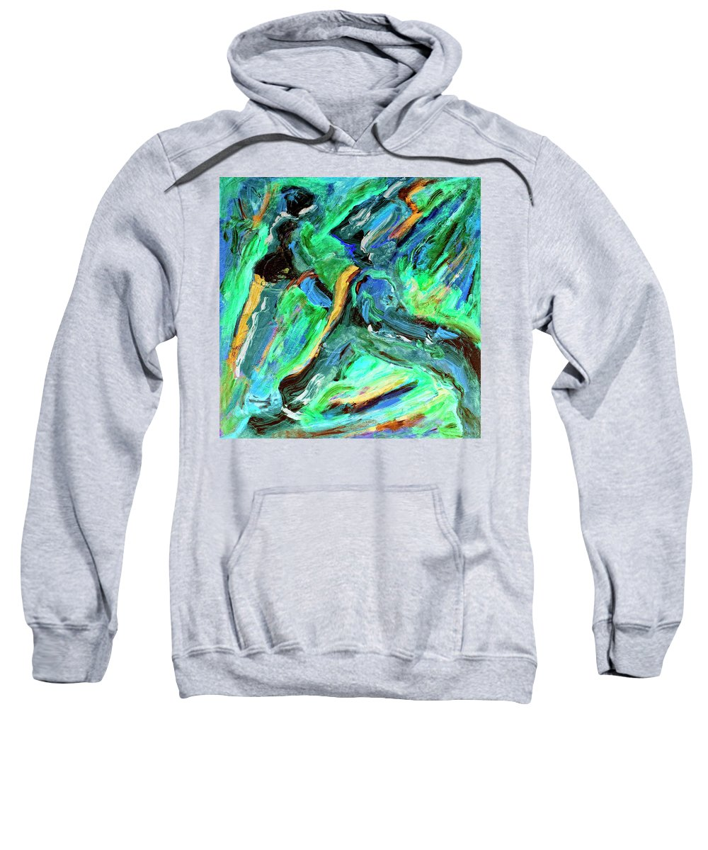 Abstract Sweatshirt featuring the painting Runners by Dominic Piperata