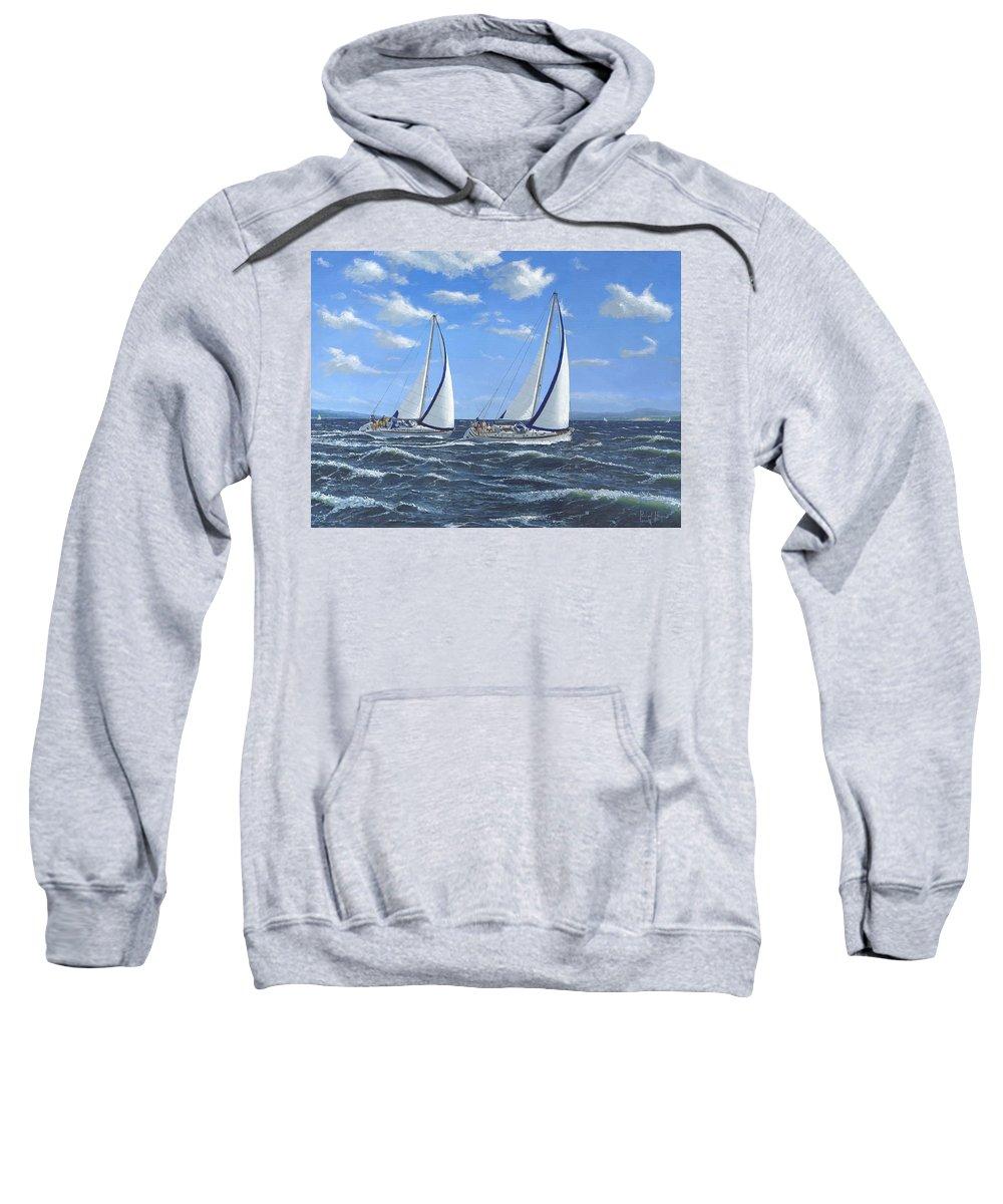 Landscape Sweatshirt featuring the painting Running Close Hauled by Richard Harpum