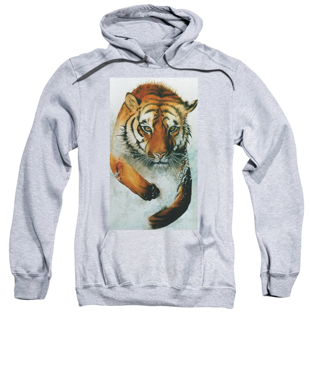 Tiger Sweatshirt featuring the painting Running Tiger by Alan Pickersgill
