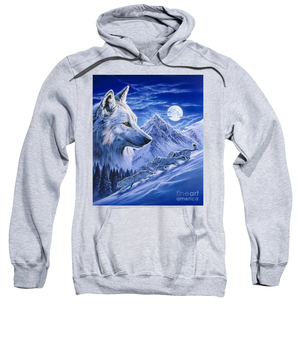 Pack Sweatshirt featuring the digital art Running With The Pack by MGL Meiklejohn Graphics Licensing
