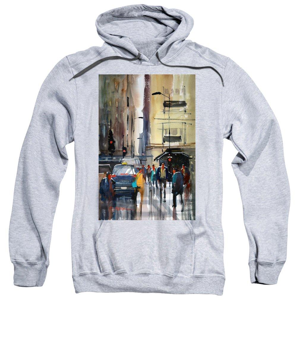 Ryan Radke Sweatshirt featuring the painting Rush Hour 2 - Chicago by Ryan Radke