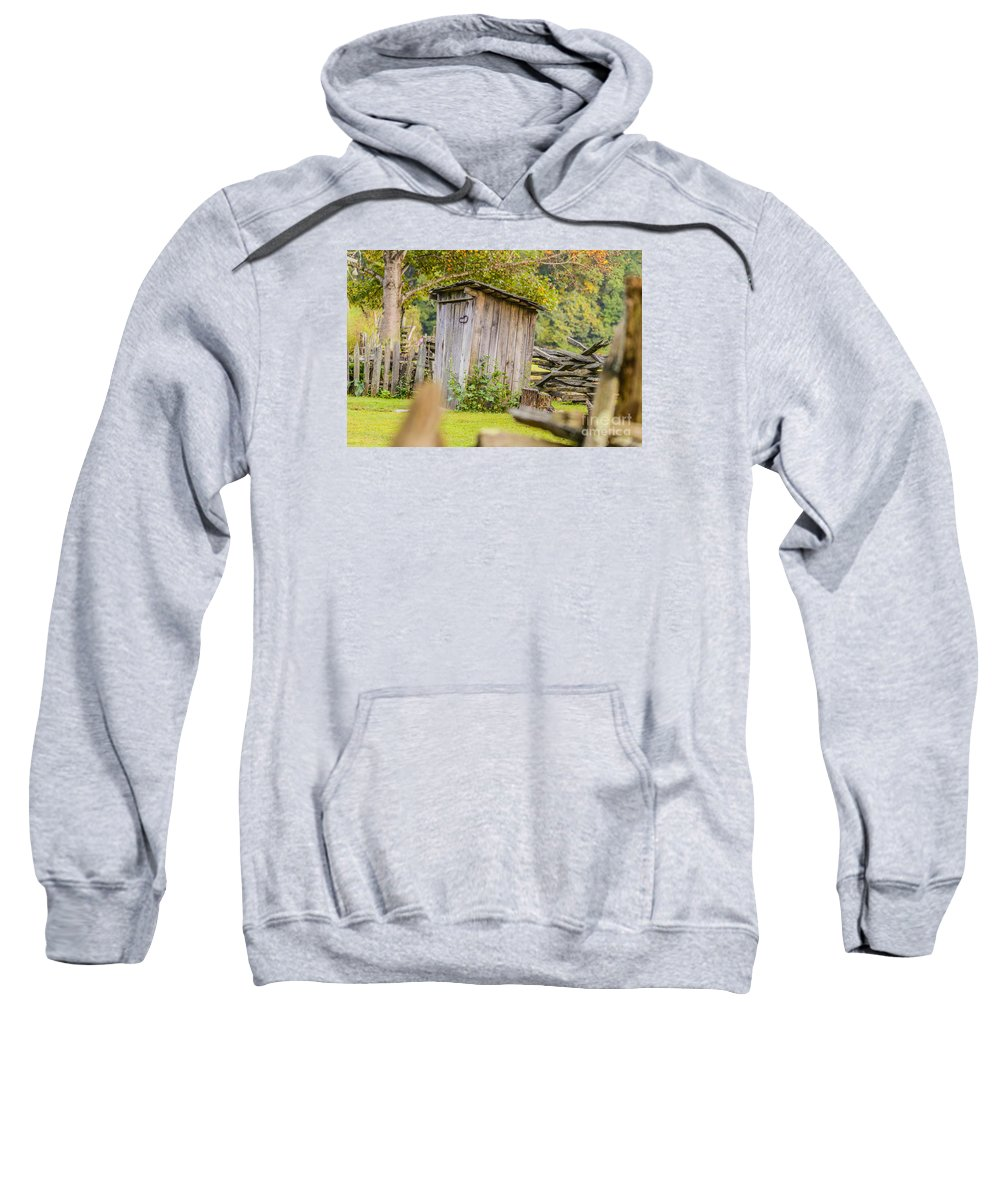 North Carolina Sweatshirt featuring the photograph Rustic Fence And Outhouse by Elvis Vaughn