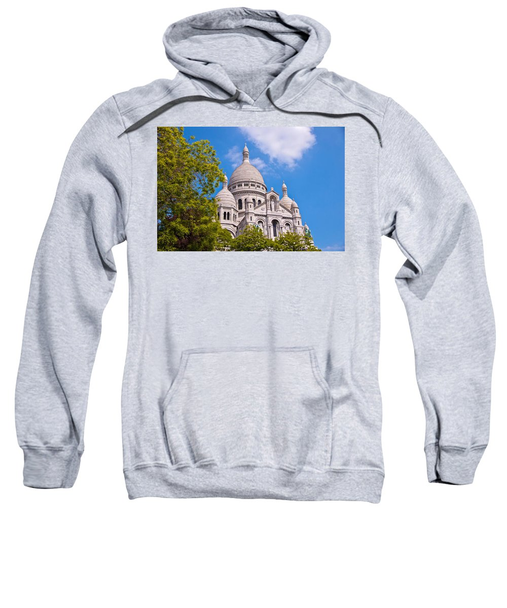 France Sweatshirt featuring the photograph Sacre Coeur Basilica Paris France by Jon Berghoff