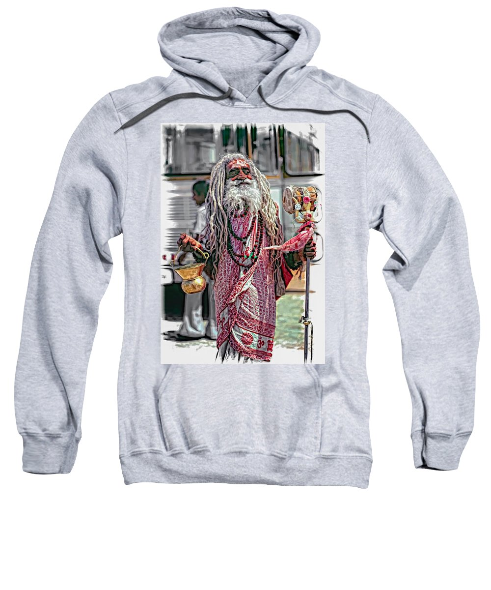 India Sweatshirt featuring the photograph Sadhu Vignette by Steve Harrington