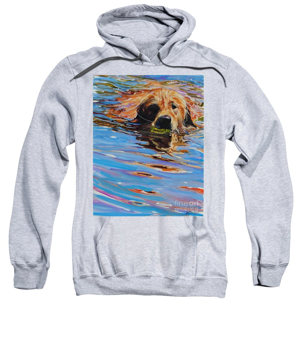 Golden Retriever Sweatshirt featuring the painting Sadie Has A Ball by Molly Poole