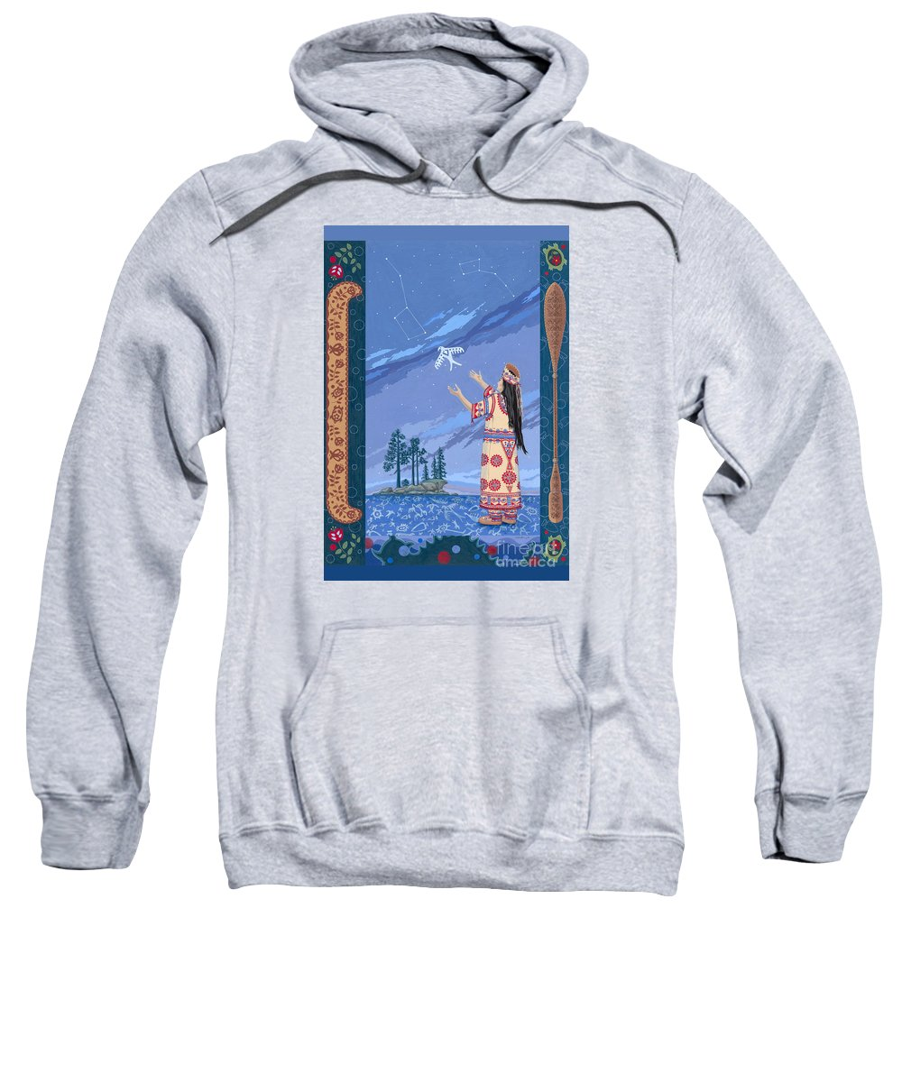 America Sweatshirt featuring the painting Safe Passage by Chholing Taha