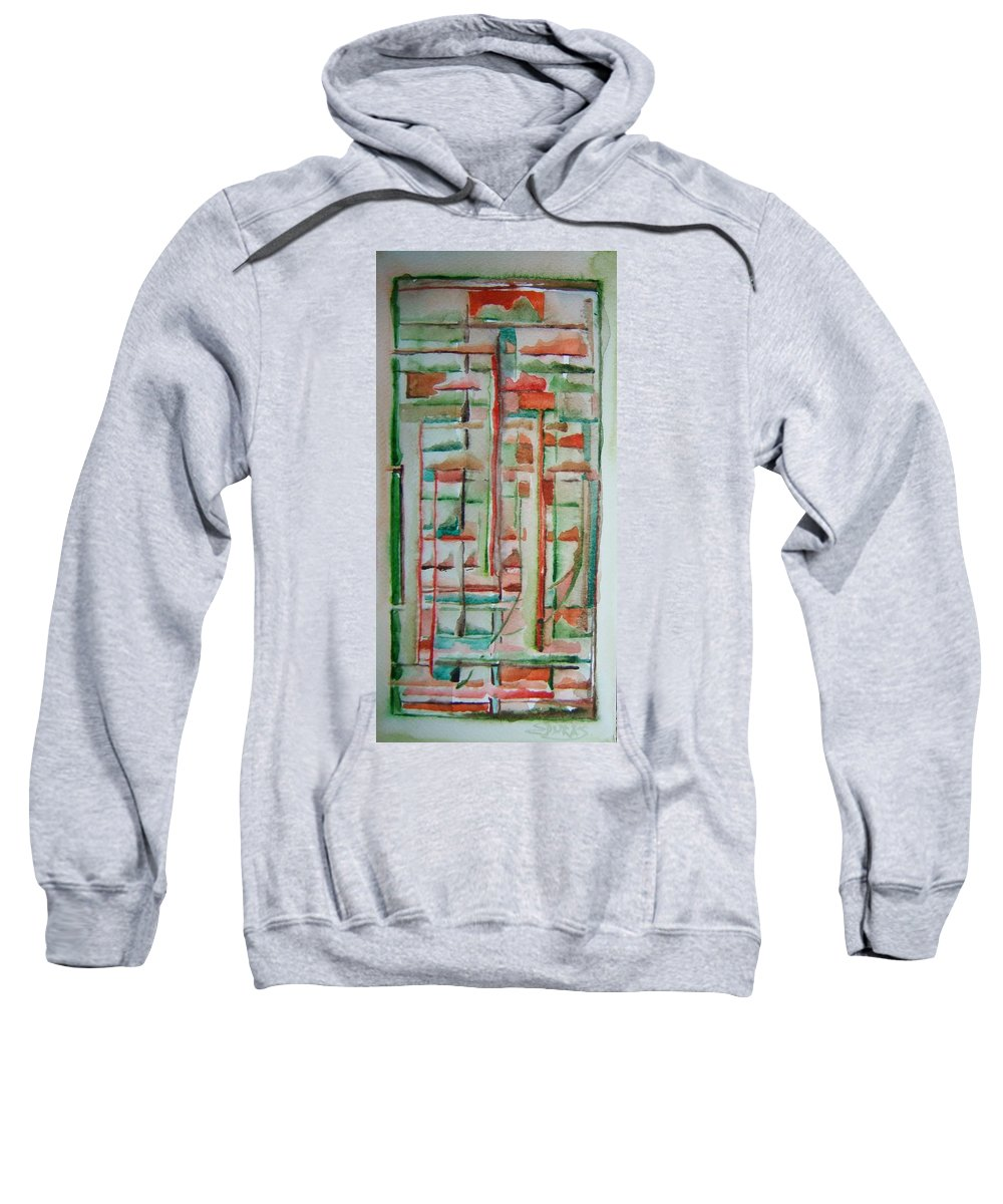 Sage Sweatshirt featuring the painting Sage Abstract by Elaine Duras