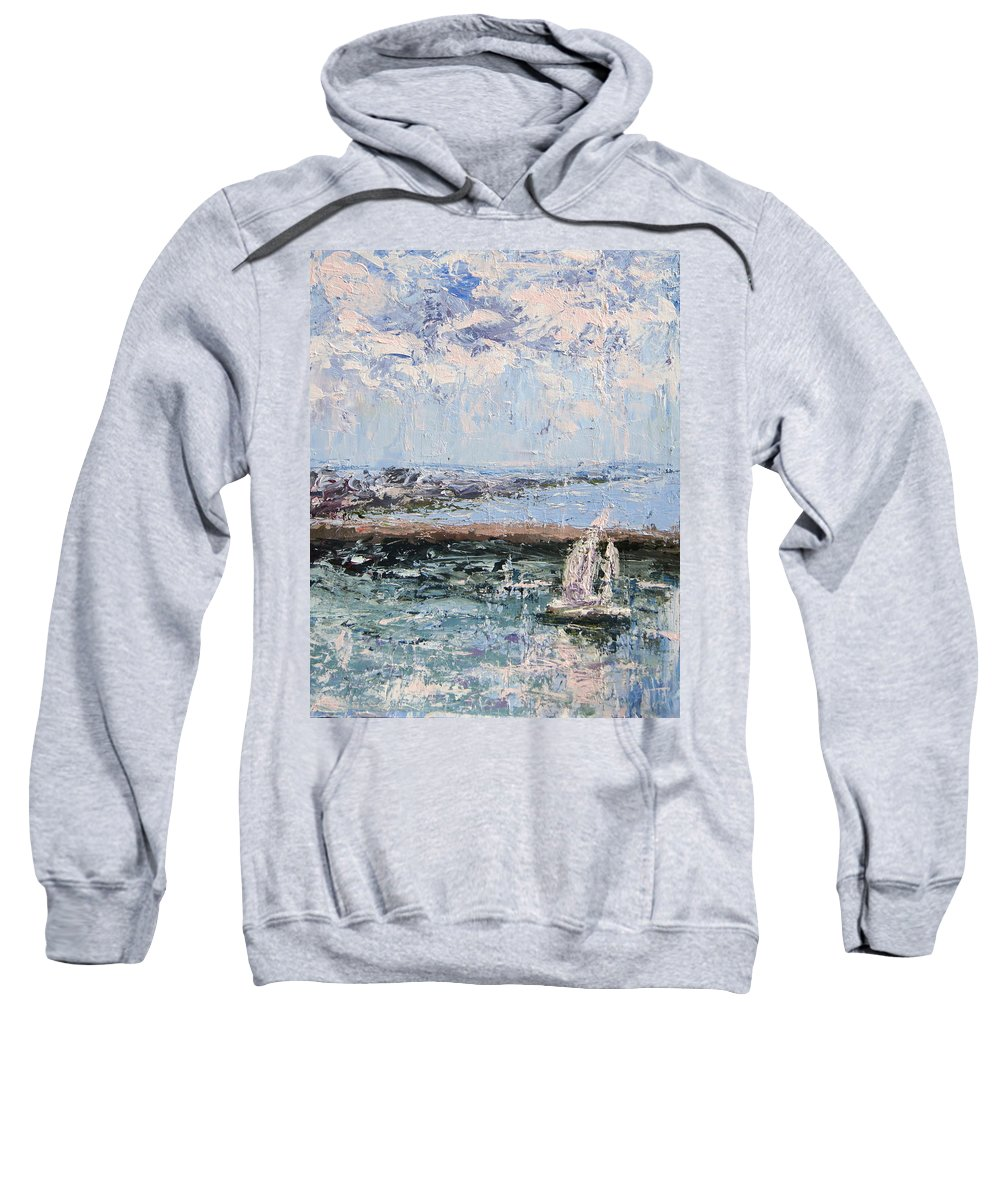 Sailboat Sweatshirt featuring the painting Sailboat In The Waukegan Harbor by Mary Haas