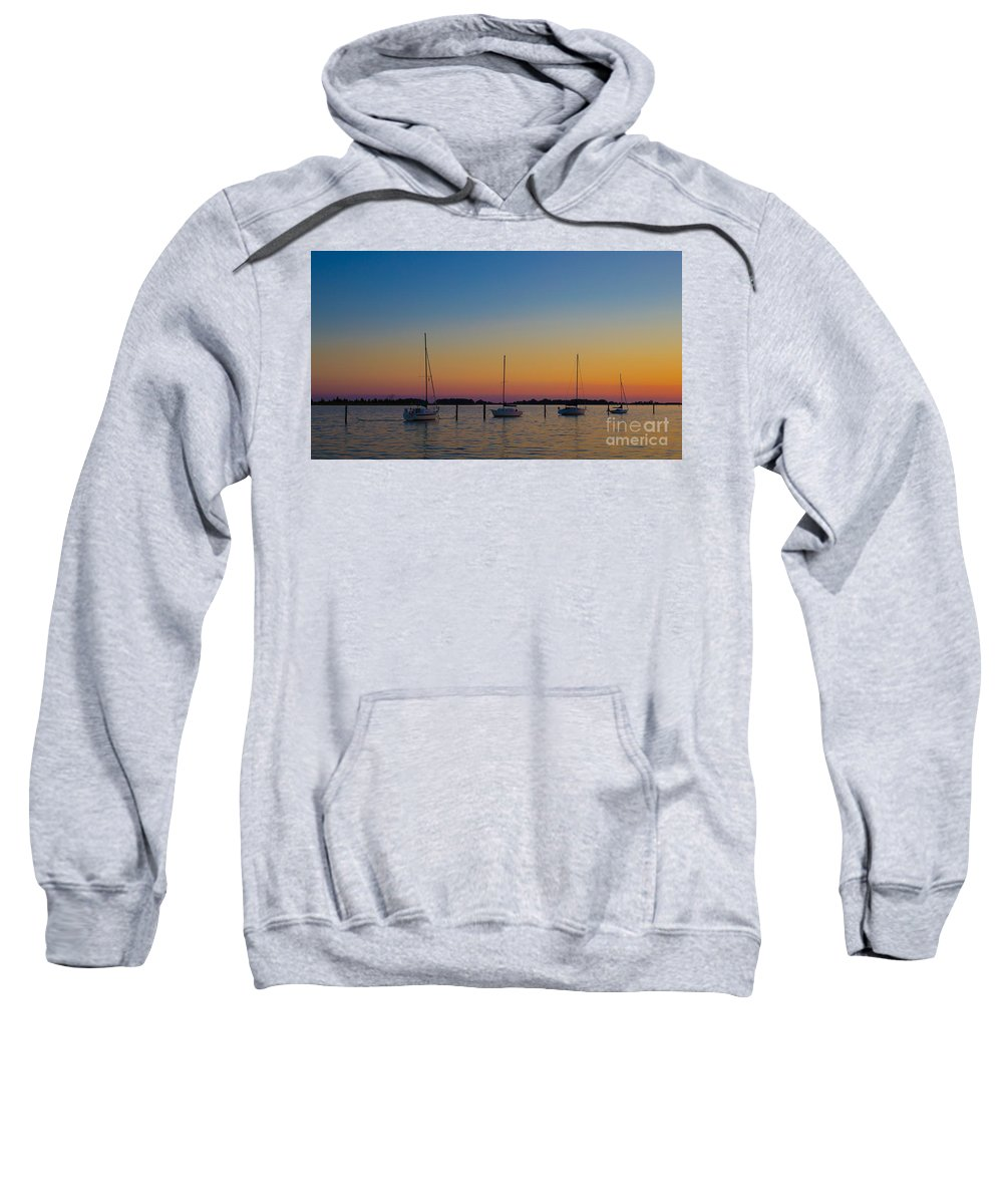 Sail Sweatshirt featuring the photograph Sailboats At Sunset Clinton Connecticut by Edward Fielding