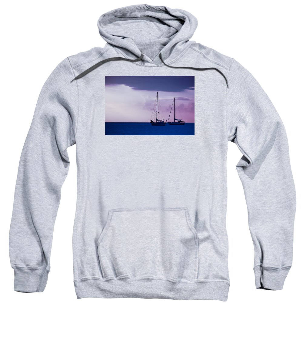 Sailboats Sweatshirt featuring the photograph Sailboats At Sunset by Don Schwartz