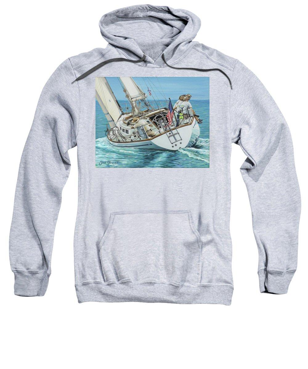 Ocean Sweatshirt featuring the painting Sailing Away by Jane Girardot