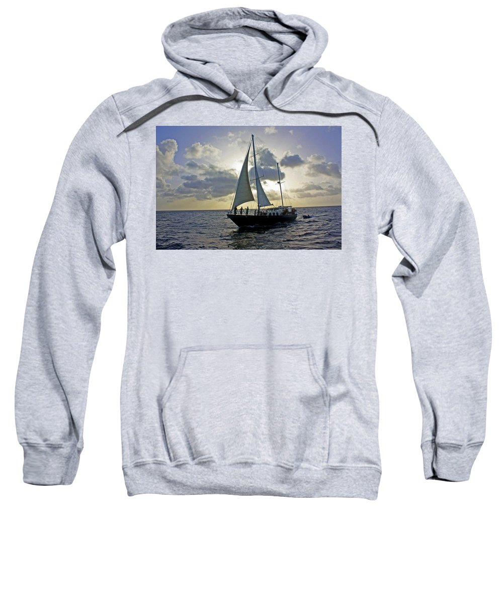 Aruba Sweatshirt featuring the photograph Sailing In Aruba by Suzanne Stout