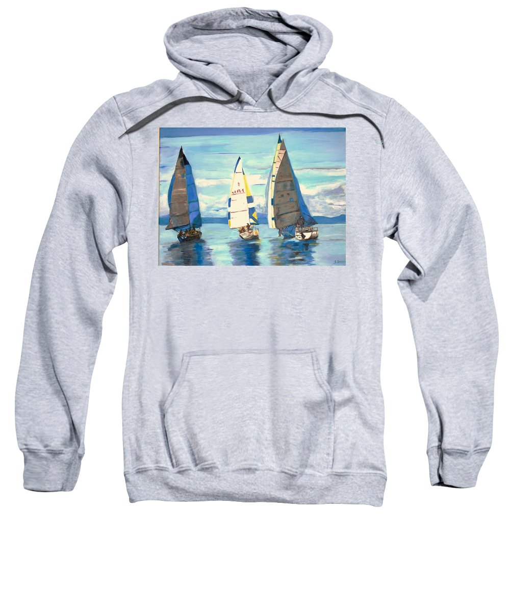 Seascape Sweatshirt featuring the painting Sailing Regatta At Port Hardy by Teresa Dominici