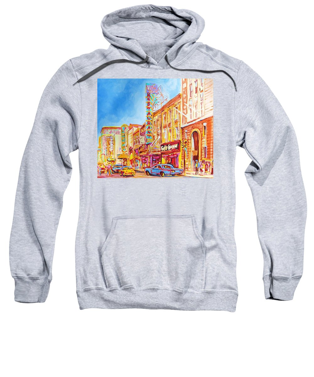 Paintings Of Montreal Sweatshirt featuring the painting Saint Catherine Street Montreal by Carole Spandau