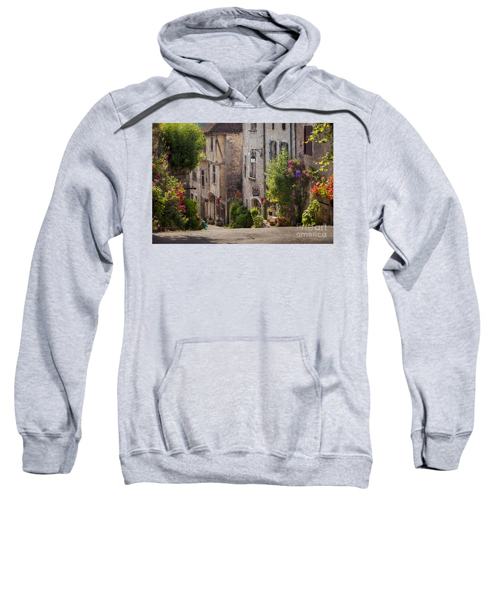 Buildings Sweatshirt featuring the photograph Saint Cirq Street by Brian Jannsen