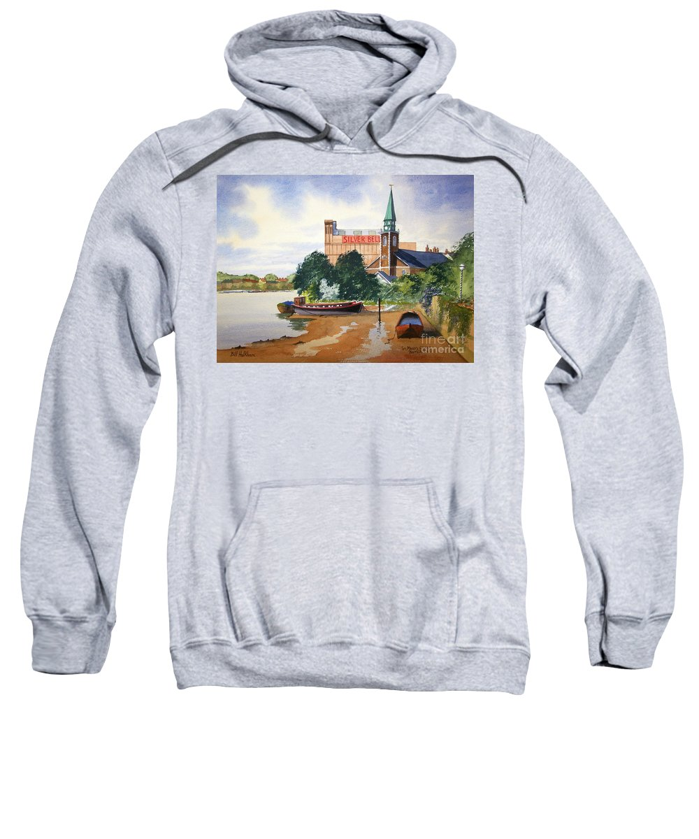 St Mary's Sweatshirt featuring the painting Saint Mary's Church Battersea London by Bill Holkham