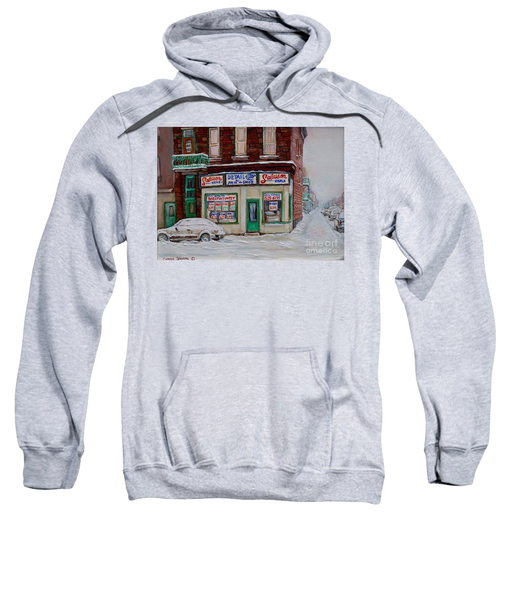 Montreal Sweatshirt featuring the painting Salaison Ideale Montreal by Carole Spandau