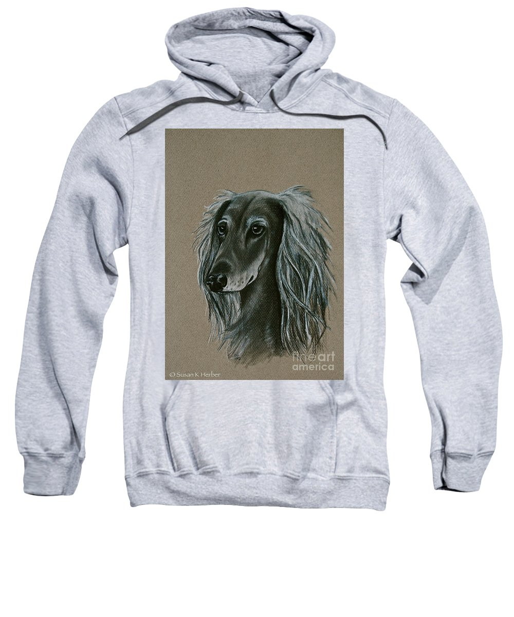 Hound Sweatshirt featuring the drawing Saluki by Susan Herber