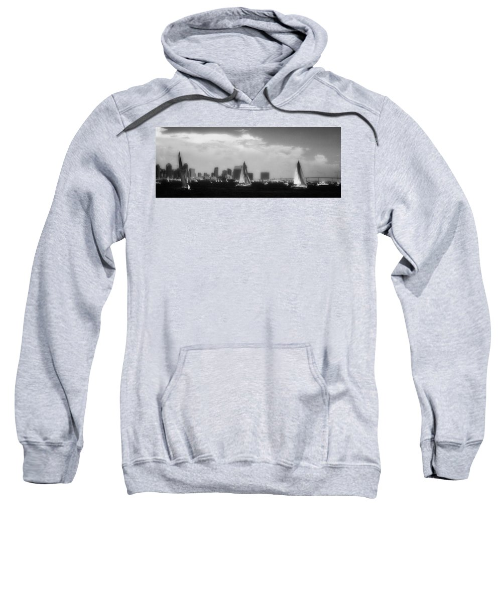 San Diego Sweatshirt featuring the photograph San Diego Harbor In Infrared by Hugh Smith